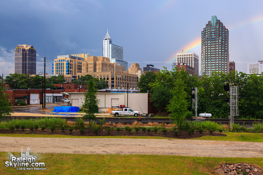 Downtown Raleigh with rainbow