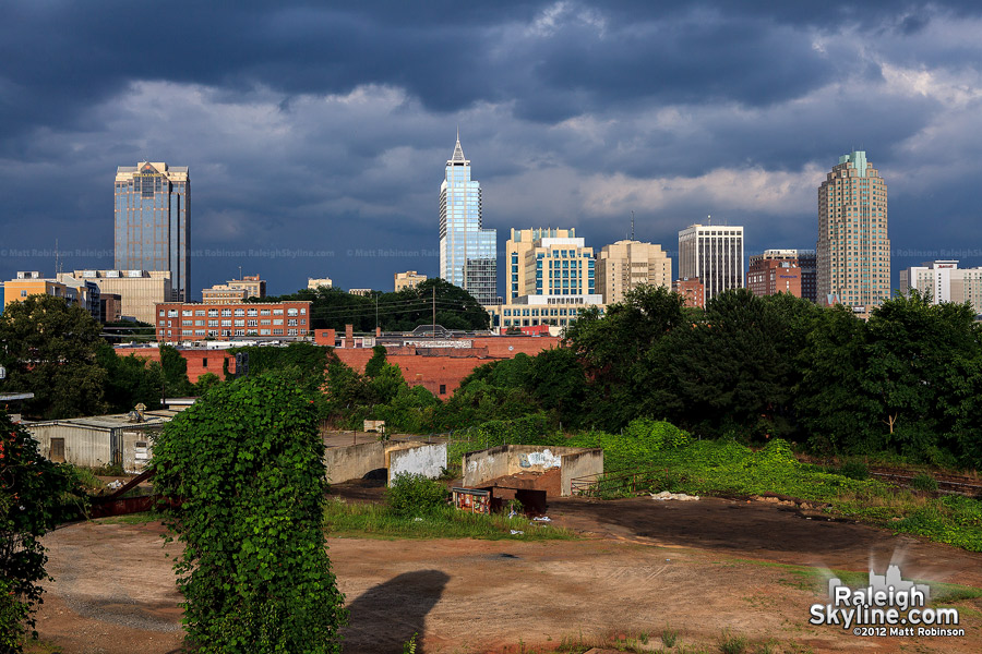 Late day Raleigh skyline from Boylan Avenue Bridge