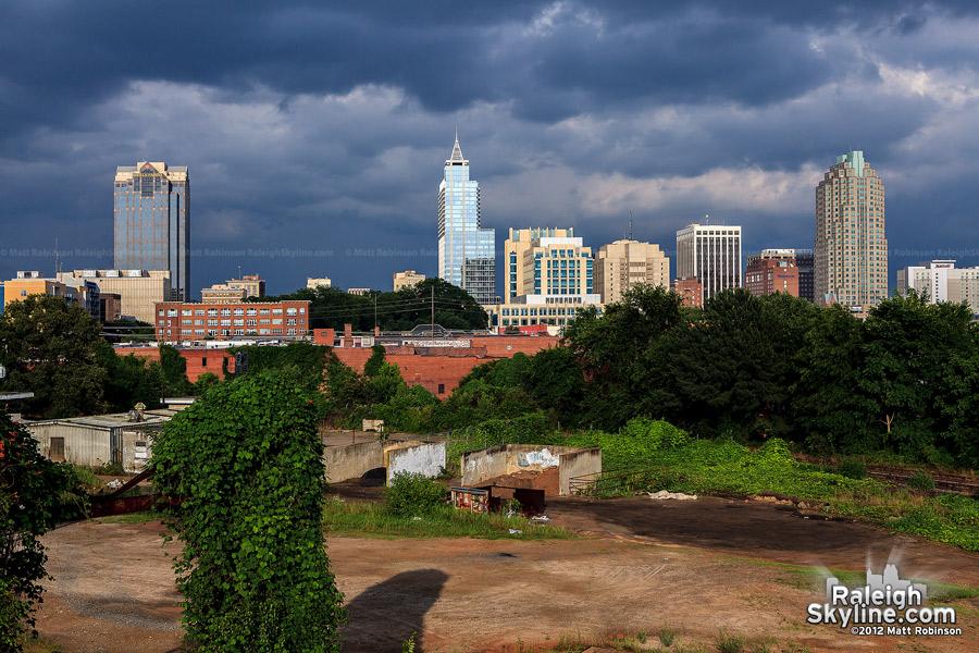 Late day Raleigh skyline from Boylan Avenue Bridge