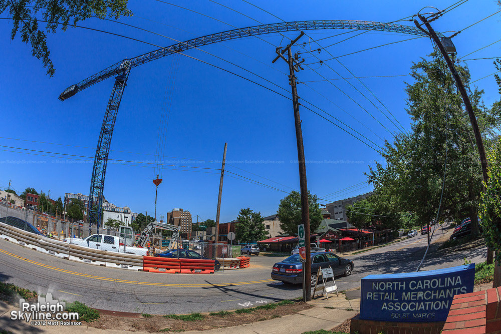 Massive Tower crane boom in Glenwood South