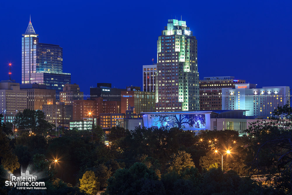 Downtown Raleigh Skyline after dark