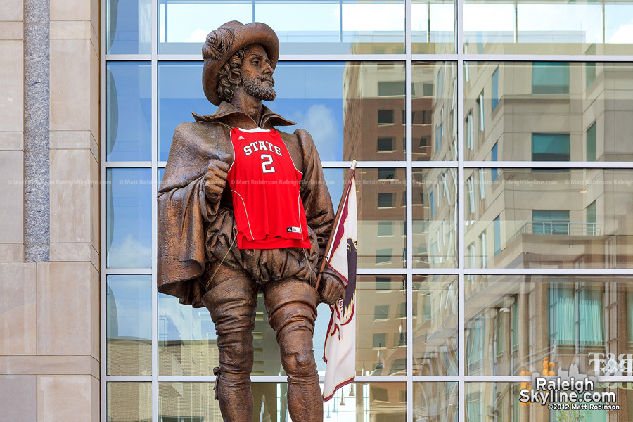 Sir Walter Raleigh sports a NC State Basketball jersey