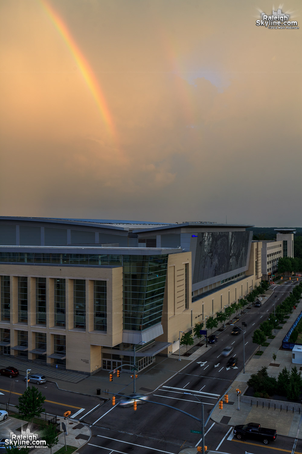Rainbow comes down on Raleigh Convention Center