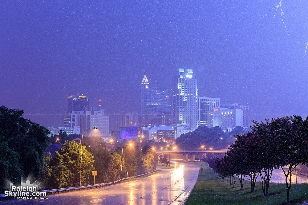 Downtown Raleigh watches as lightning strikes off camera