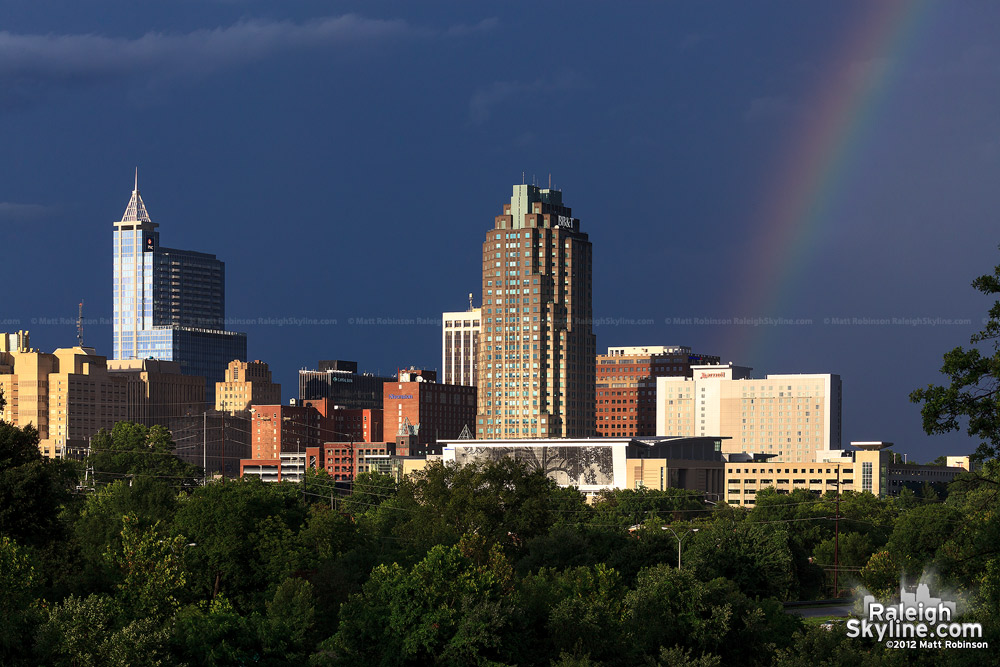 Rainbow with downtown Raleigh
