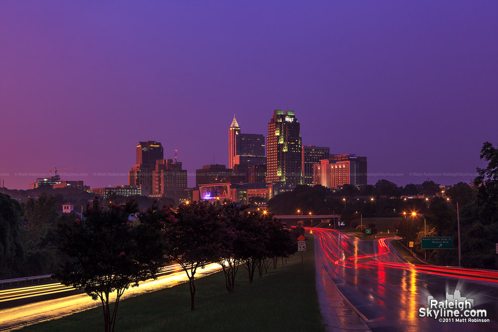 Purple sunset with downtown Raleigh