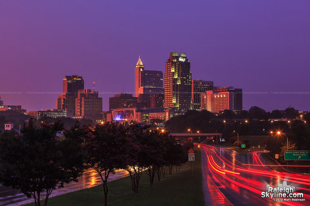 Raleigh skyline reflects a stormy sunset