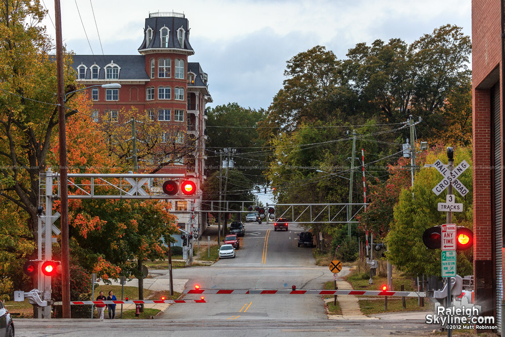 Hargett Street CSX crossing with fall colors