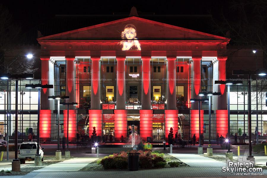 Les Misérables lighting on Raleigh Memorial Auditorium