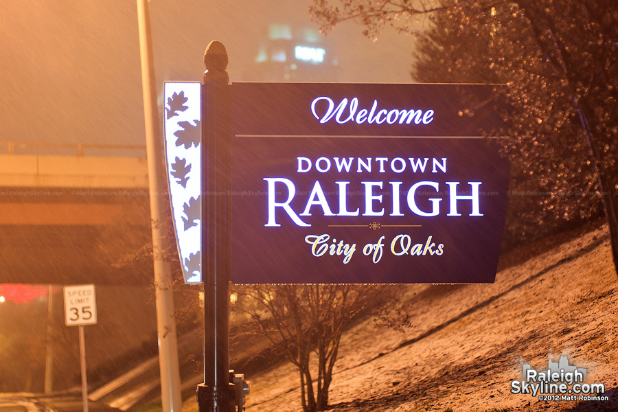 Raleigh sign in the snow