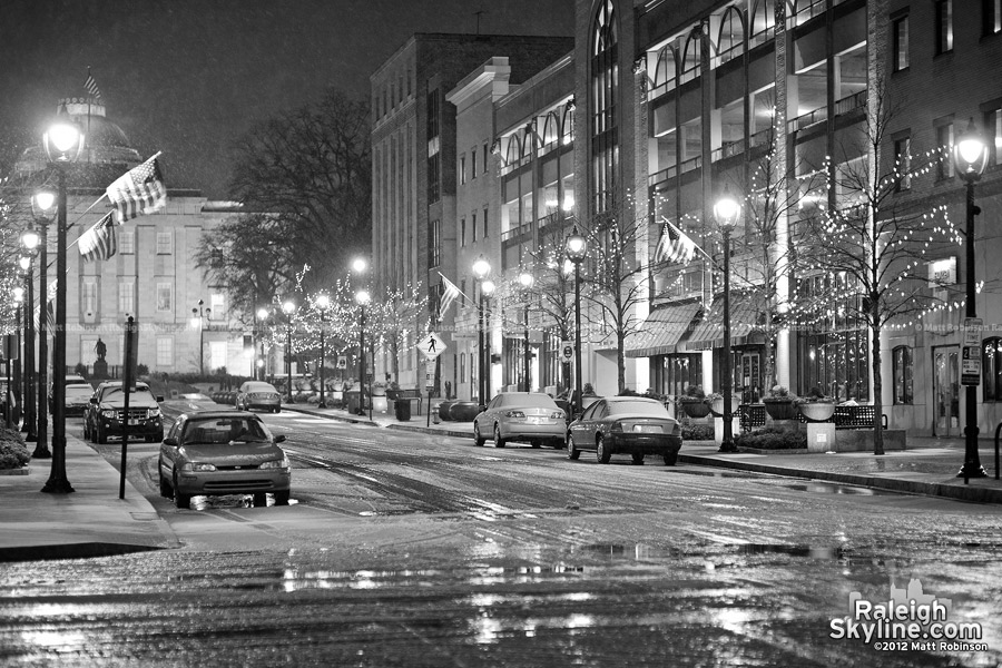 A lone winter night in the City of Raleigh
