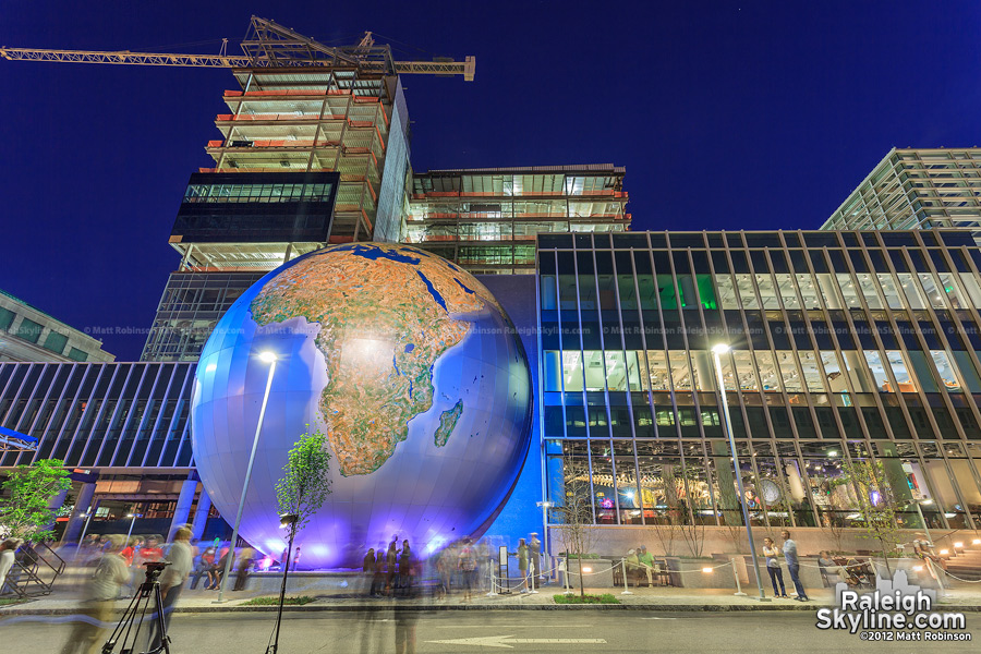 Nature Research Center with Globe at night