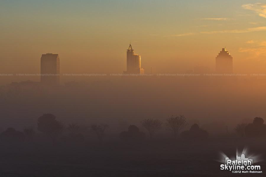 Fog layer settles on Raleigh at sunrise