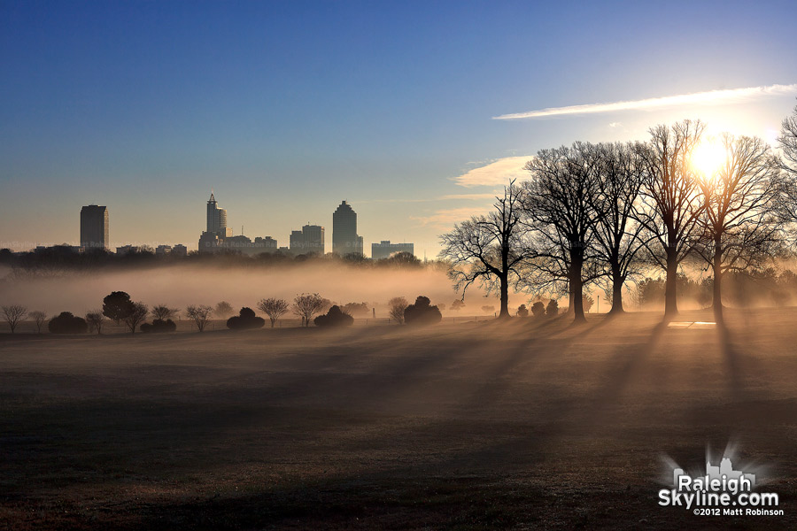 Sunrise with downtown Raleigh Skyline and fog