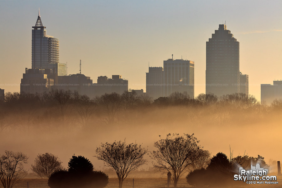 Ground layer of fog with downtown Raleigh