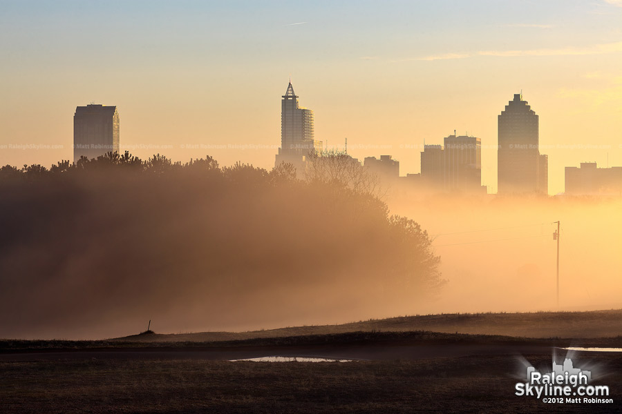 Misty morning around downtown Raleigh