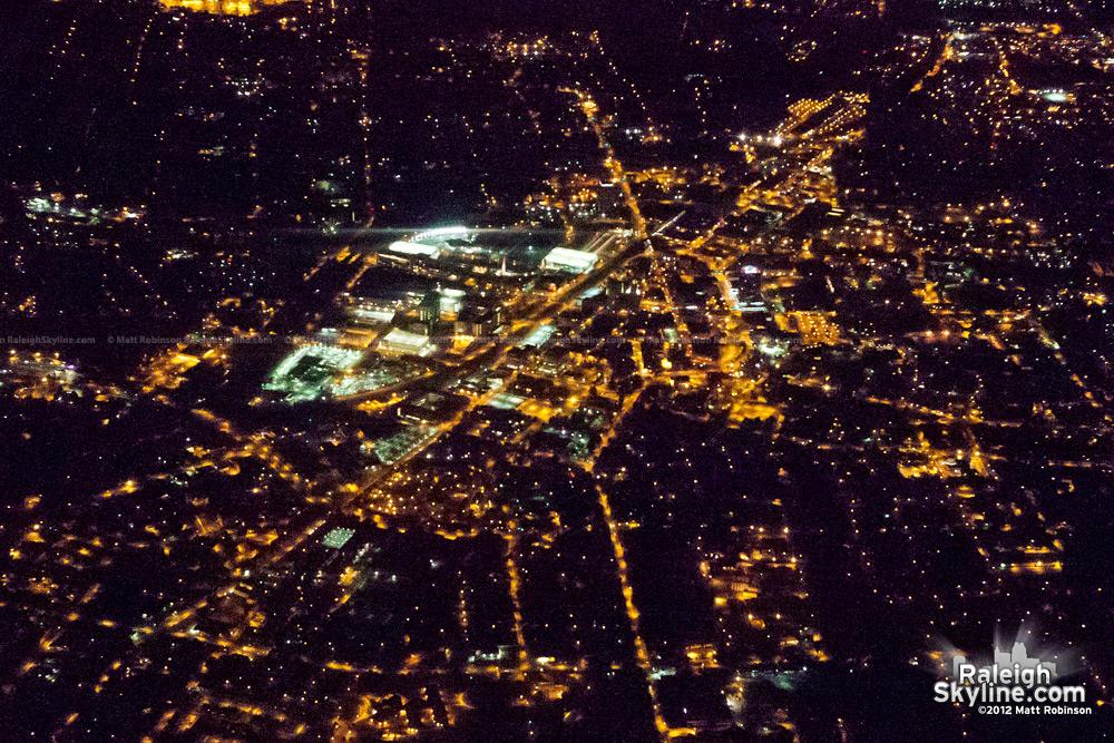 Nighttime Durham, NC Aerial