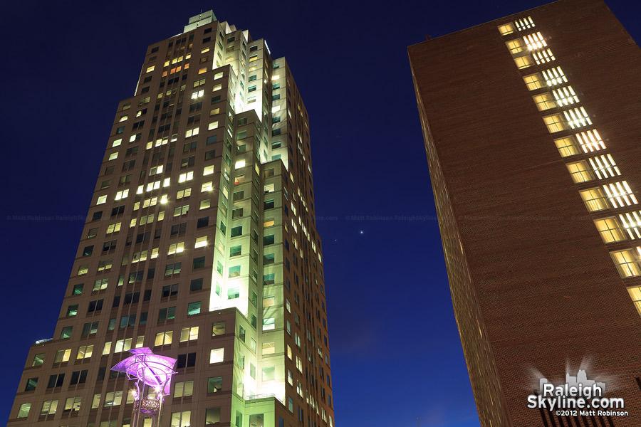Venus and Jupiter pair between buildings from City Plaza