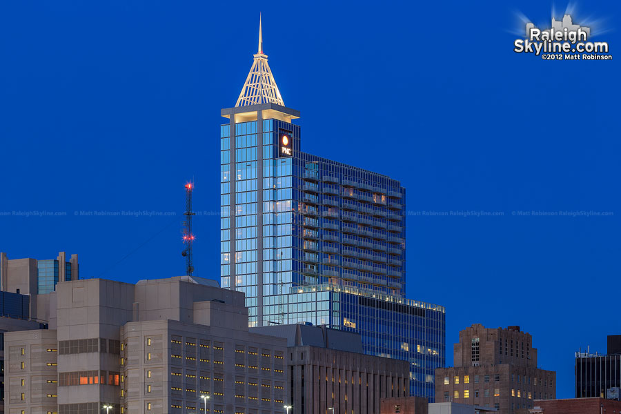 PNC Plaza at magic hour in Raleigh