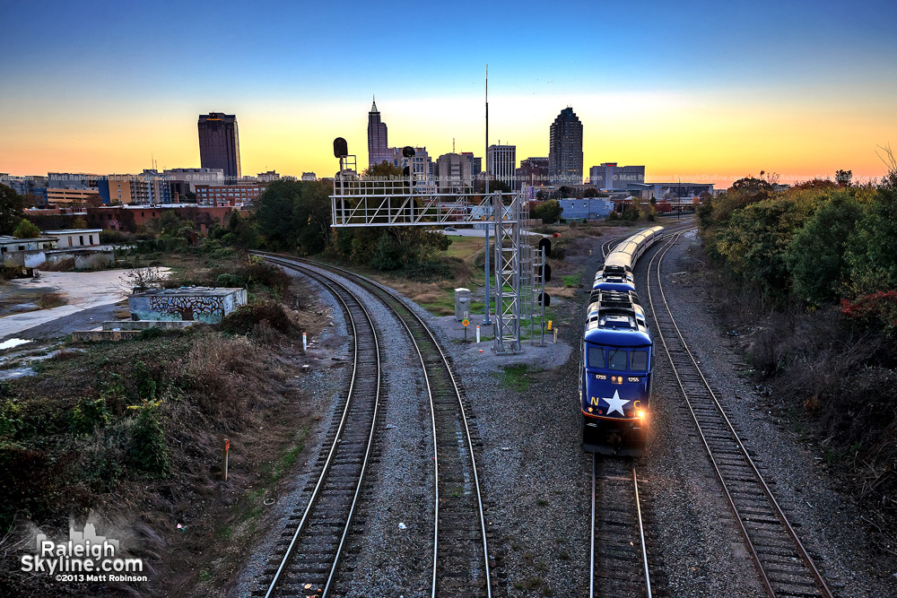 Amtrak backs into Raleigh station from Boylan Avenue Bridge