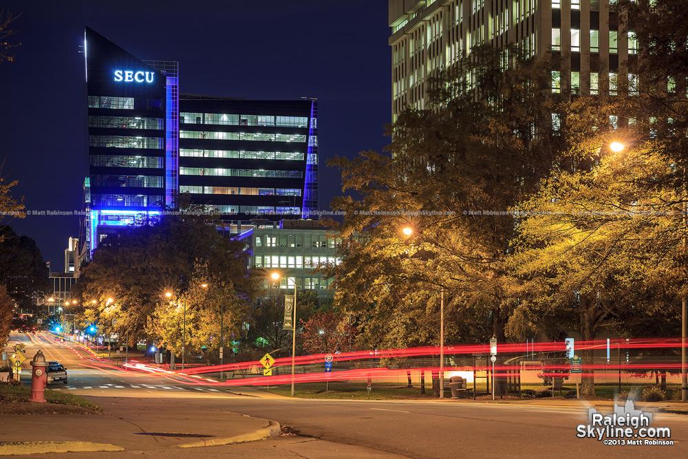 Traffic streaks down Salisbury Street at night