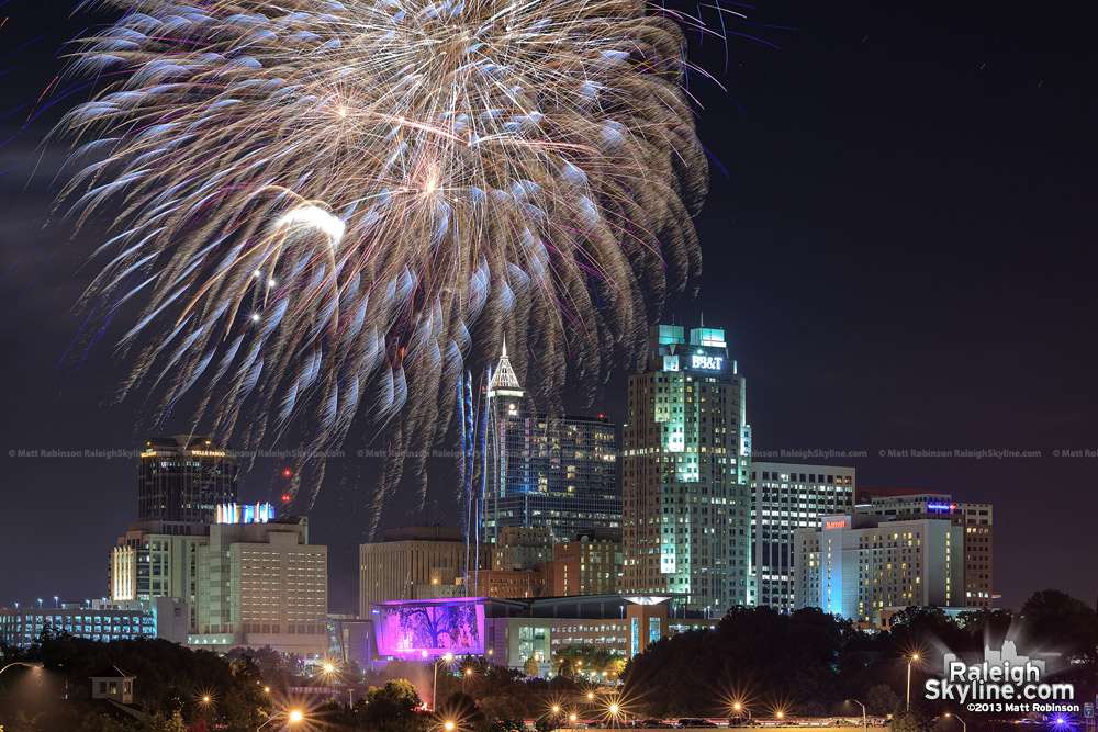 2013 Raleigh July 4th Fireworks over downtown