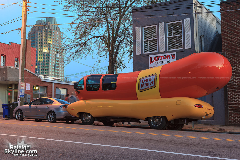 Oscar Mayer Wienermobile in downtown Raleigh on Martin Street