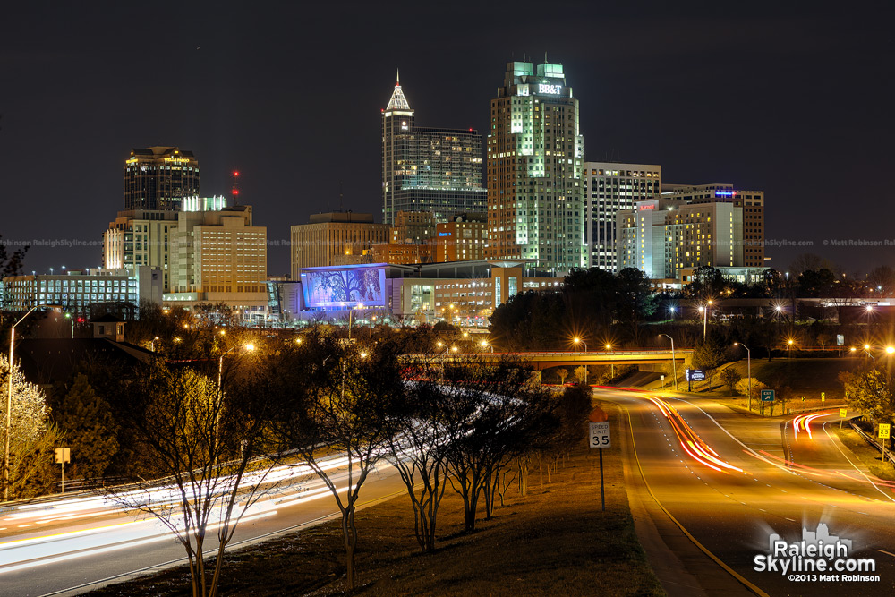 Raleigh skyline at night, April 2013