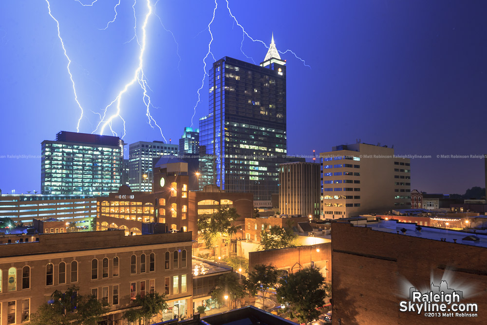 Lightning strikes near downtown Raleigh