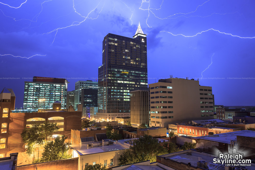 Lightning over downtown Raleigh skyline