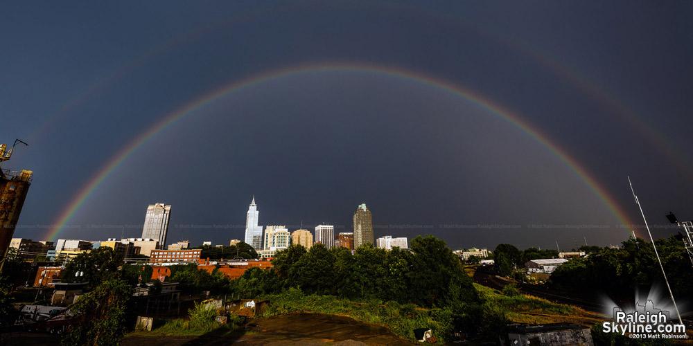 Rainbow over Raleigh panorama on June 28, 2013