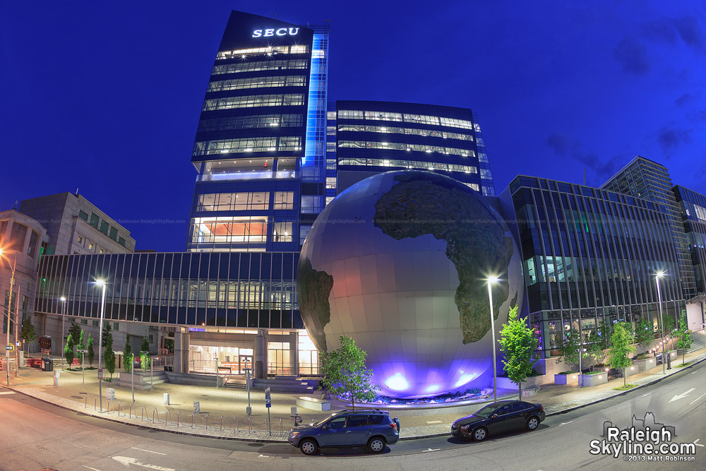 New LED lighting on the NC State Employees Credit Union (SECU) headquarters with the globe at the Museum of Natural Sciences (from the tall tripod)