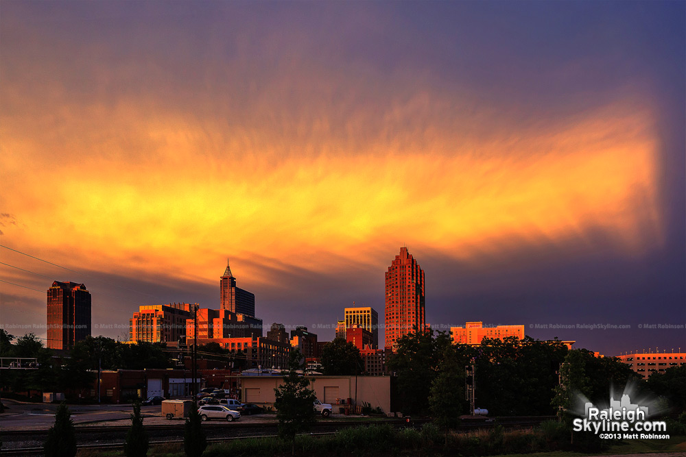 Sunset rays over Raleigh