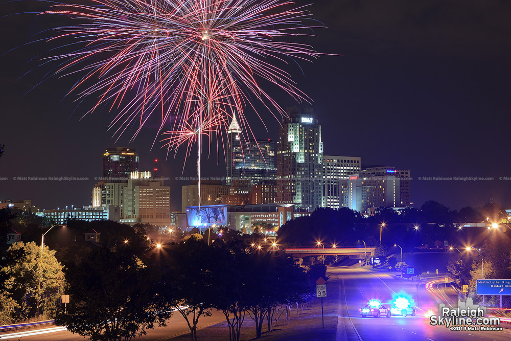 Test fireworks over the Raleigh Skyline