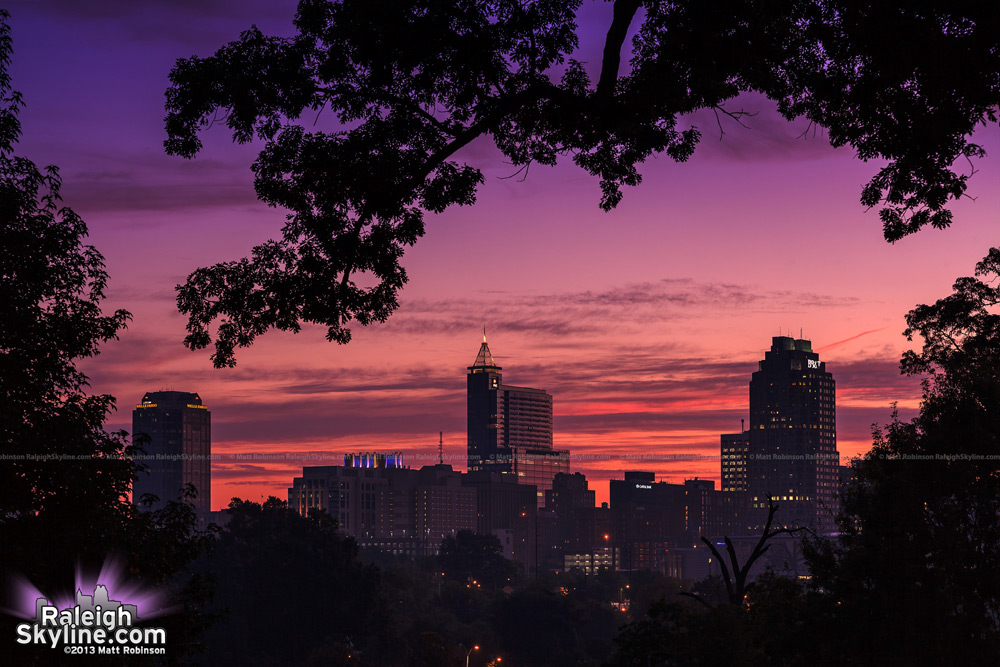 Pink and purple sunrise with the Raleigh skyline from Dorothea Dix