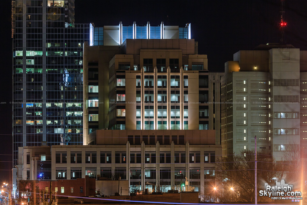 New lighting on the Wake County Justice Center