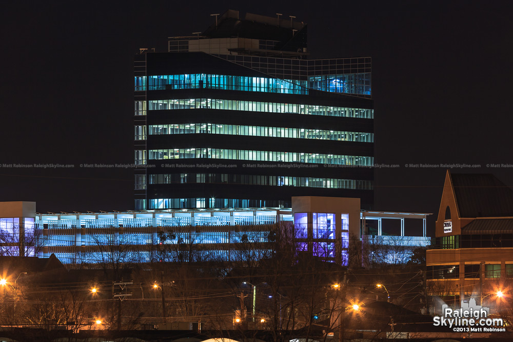 North Carolina State Employees Headquarters at night