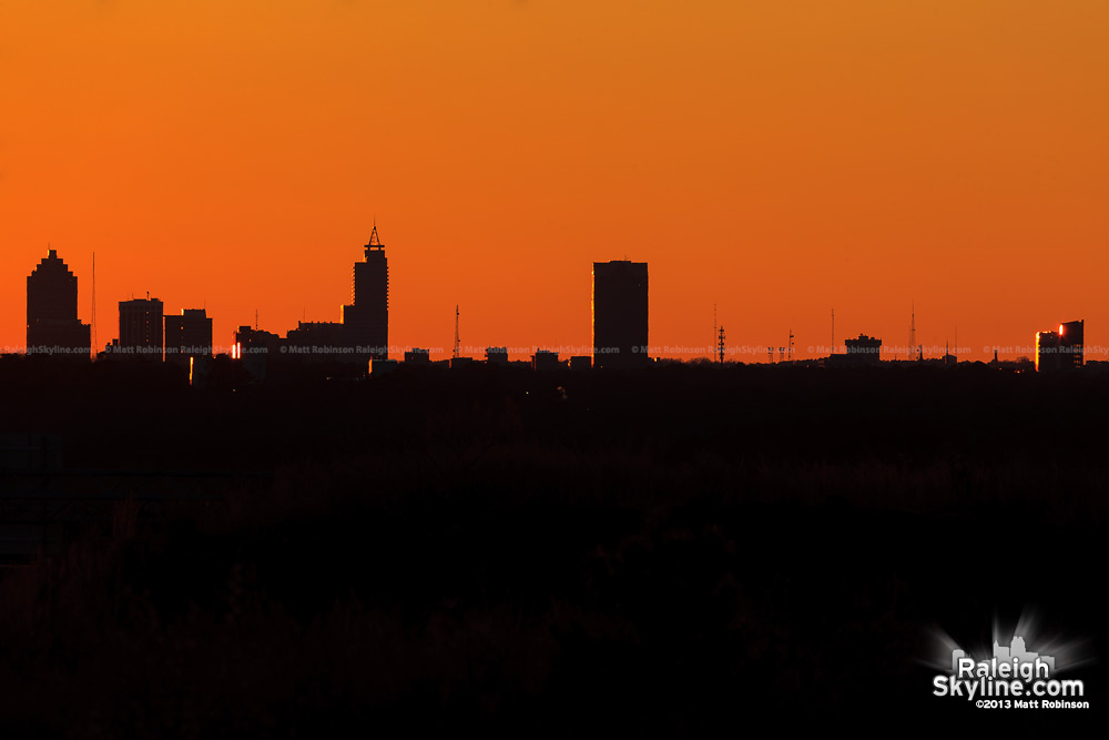 Raleigh skyline silhouette after sunset
