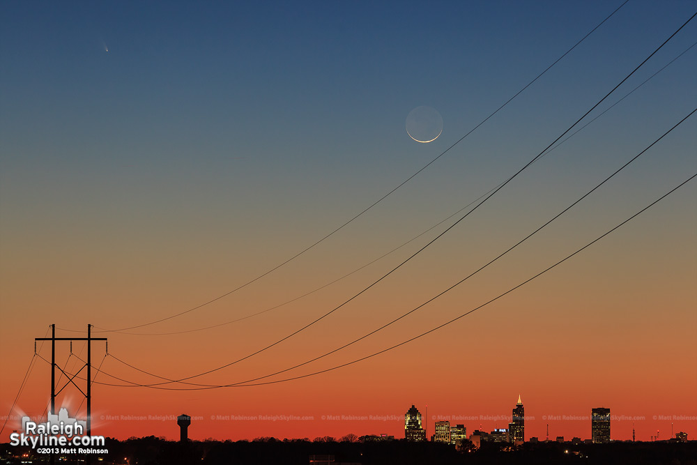 Wider view of Comet Panstarrs with downtown Raleigh