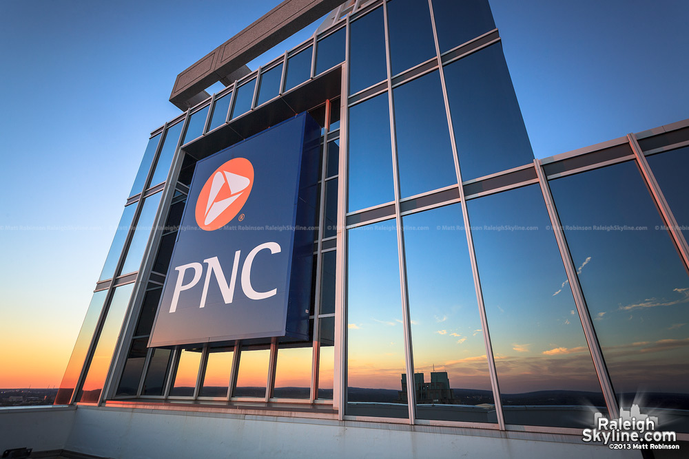 PNC sign atop PNC Plaza from roof