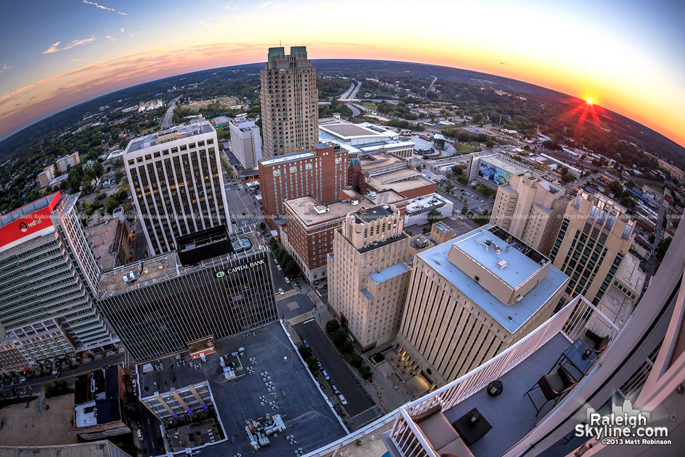 Raleigh skyline at sunset from PNC Plaza