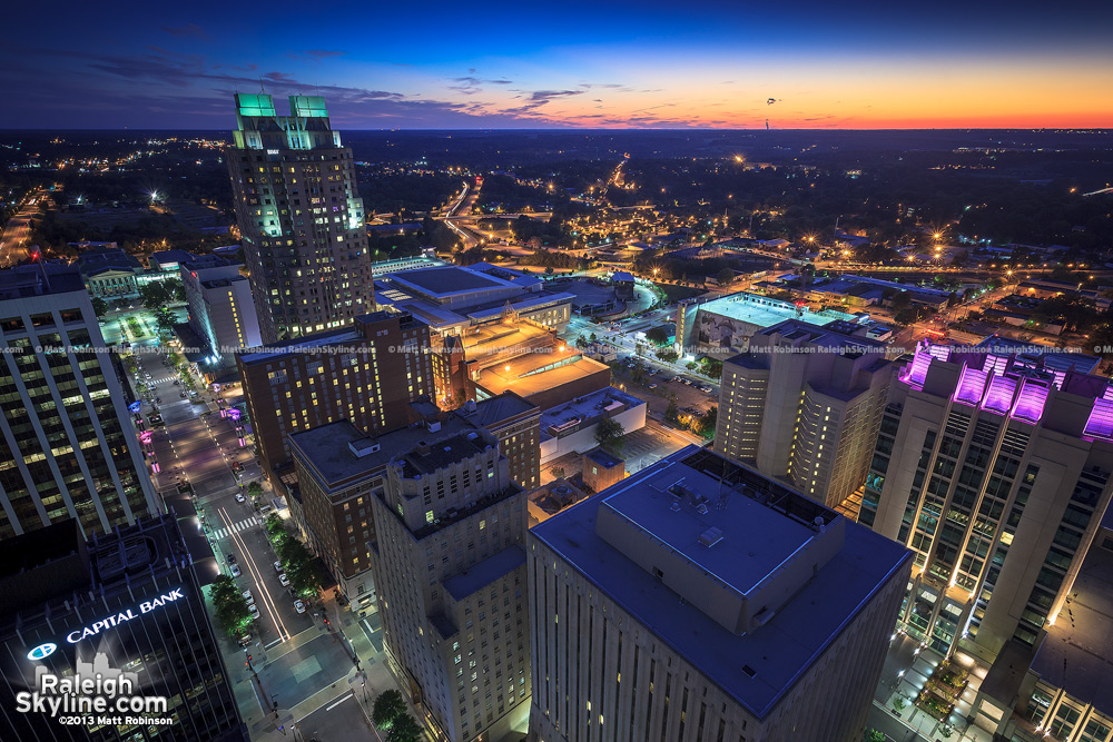 Downtown Raleigh from PNC Plaza roof at night