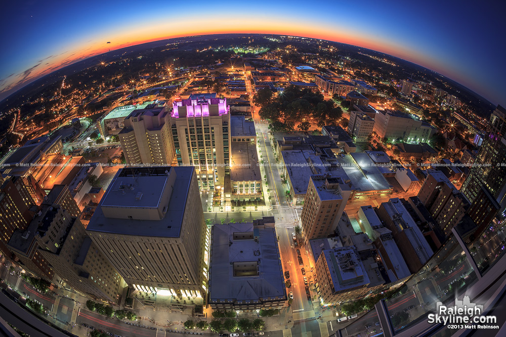 View looking west at sunset of downtown Raleigh from PNC Plaza
