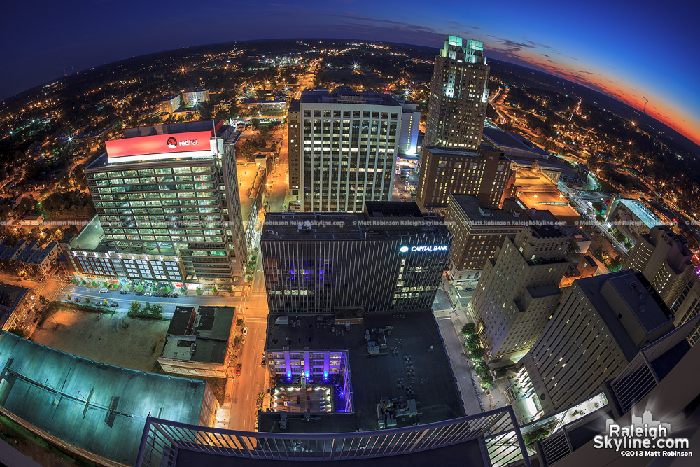 View looking south at sunset of downtown Raleigh from PNC Plaza