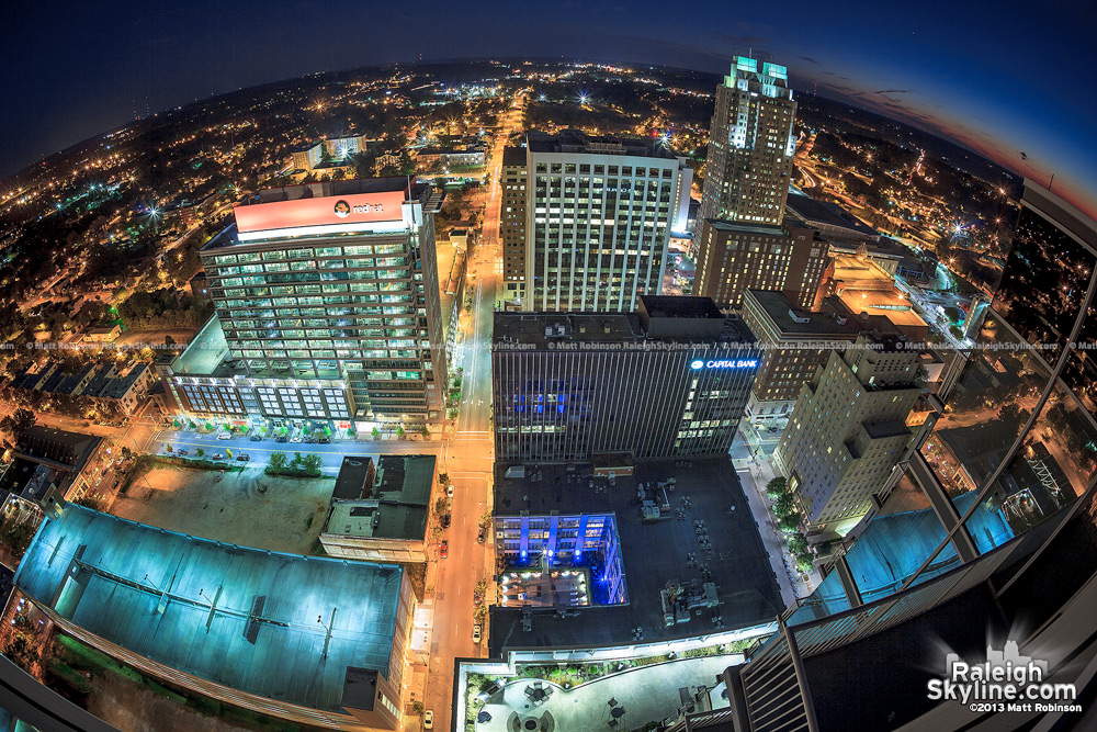 Fisheye view looking south at night of downtown Raleigh from PNC Plaza