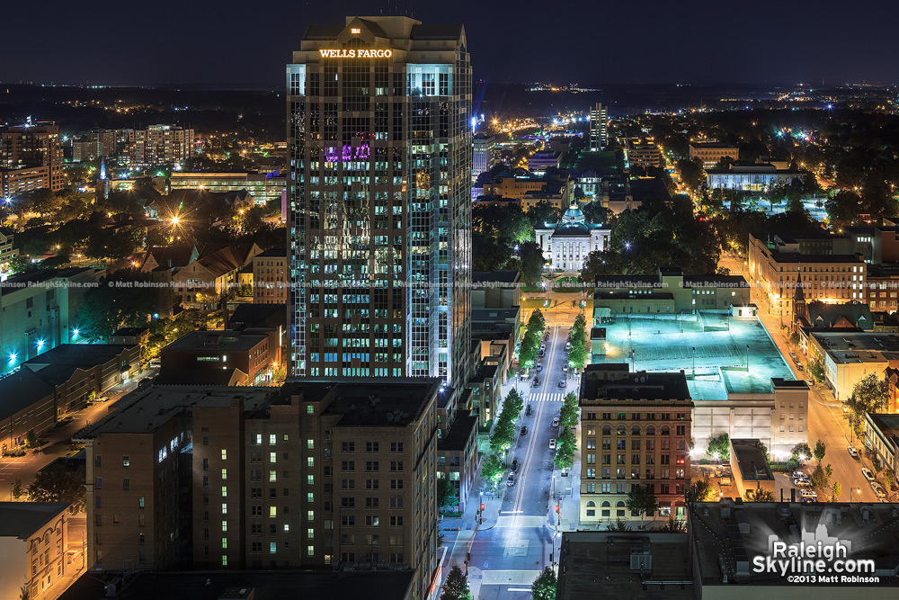 View looking north from PNC Plaza of Wells Fargo Building and NC State Capitol