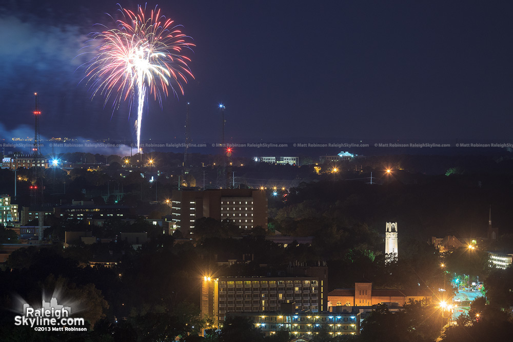 NC State Fair Fireworks as seen from PNC Plaza