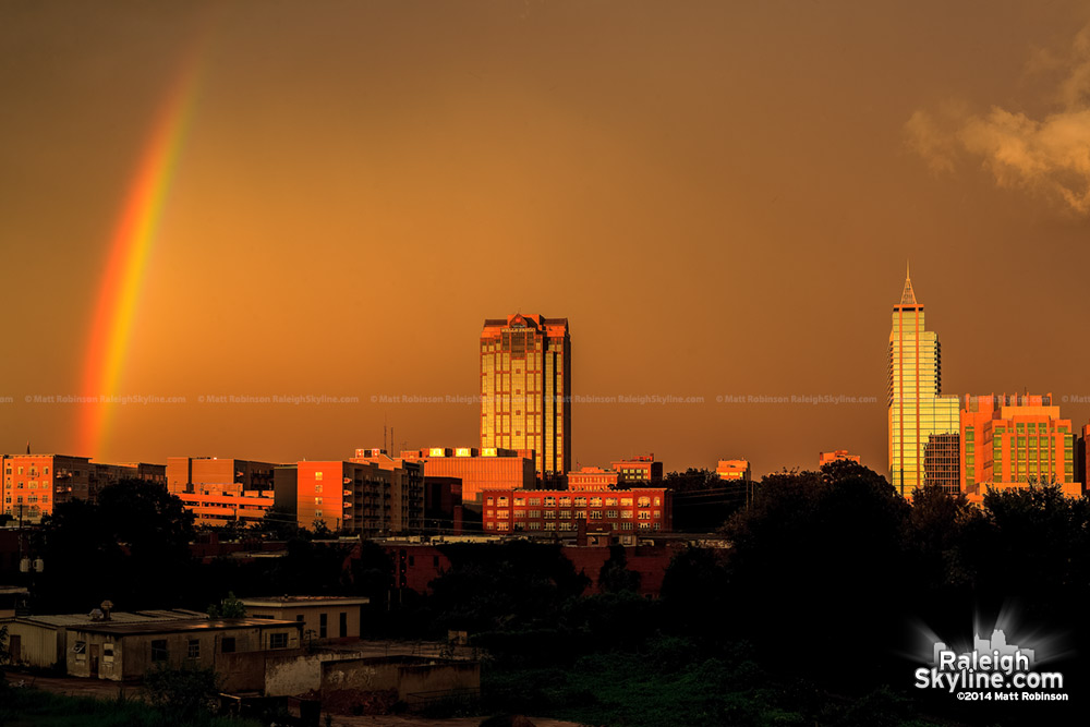 Rainbow and sunset over Raleigh Skyline - August 8, 2012