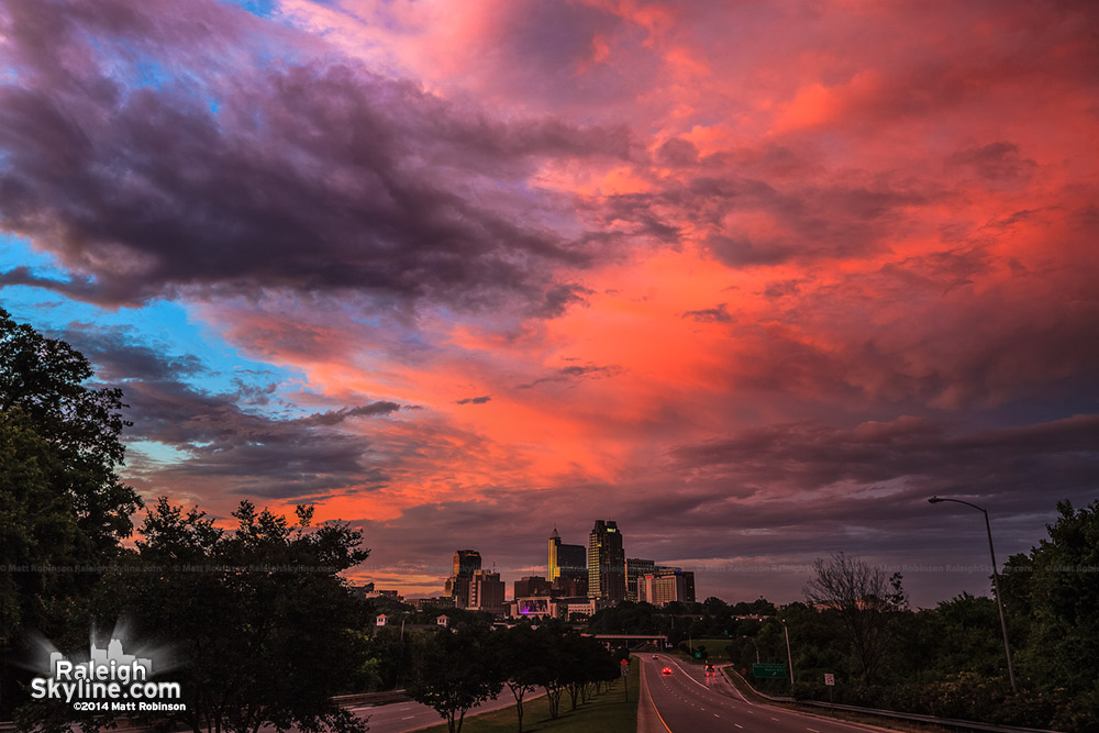 Colorful sunset over downtown Raleigh - June 3, 2013