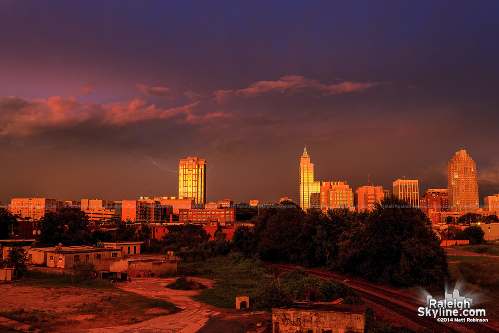 Beautiful sunset over Raleigh with lightning - August 8, 2012